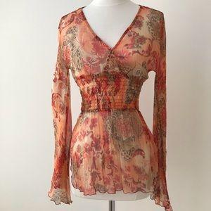 Cache Sheer Silk and Metallic Thread Blouse